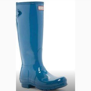 ☔Hunter original back adjustable glossy blue boots
